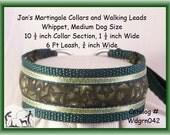 Jan's Martingales, Dark Green Collar and Leash Combination Walking Lead, Whippet, Medium Dog Size, wdgrn042