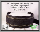 Jan's Martingales, Black Walking Lead, Collar and Lead Combination, Greyhound, Large Dog Size, Blk238