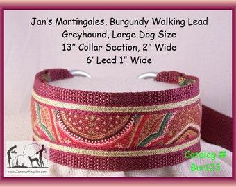 Large Dog Size Martingale Collar and Leash Combination Walking Lead, Burgundy, Greyhound, Bur123