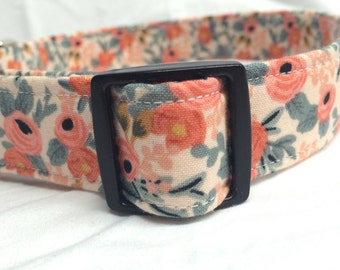 Rifle Paper Co. Dog Collar Les Fleurs Fabric Wedding Rosa Floral Peach