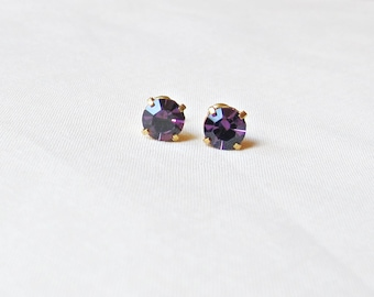 Purple Amethyst Earrings Ear Studs Vintage Glass Round Glam It Up Jewellery dspdavey Jewelry Cute Small Miniature Sparkly Bridesmaid