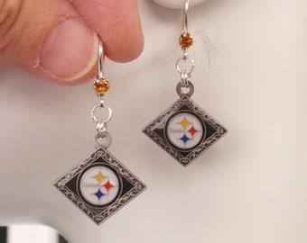Pittsburgh Steelers Earrings, Steelers Bling, Gold Crystal Leverback Earrings, Pro Football Steelers Jewelry Accessory Fanwear