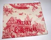 Santa's Sack - Small Vintage Toile Canvas Drawstring Bag with Custom Embroidery
