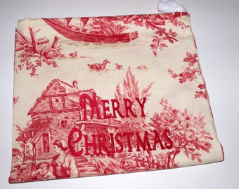 Santa's Sack - Small Vintage Toile Canvas Drawstring Bag with Custom Embroidery