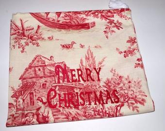 Santa's Sack - Medium Vintage Toile Canvas Drawstring Bag with Custom Embroidery