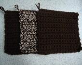 Set of 3 Espresso and Buff Fleck Hand Crocheted Potholders - Kitchen Decor