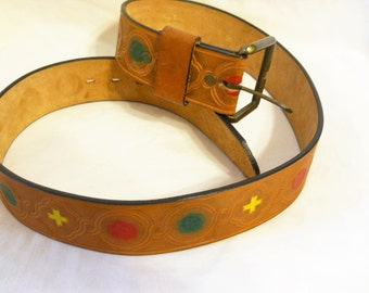 Ladies Tooled Leather Belt Tan Brown SALE