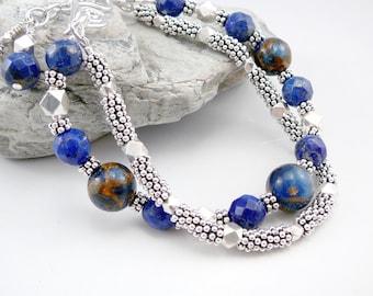 Lapis Lazuli Bracelet, Lapis Lazuli Jewelry, Trendy Bracelet, Blue Jewelry, Lapis Jewelry, Blue Bracelet, Multi Strand Bracelet Blue Jewelry