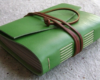 "Lined leather Journal, approx. 4""x 6"", lime, handmade rustic journal(1627)"