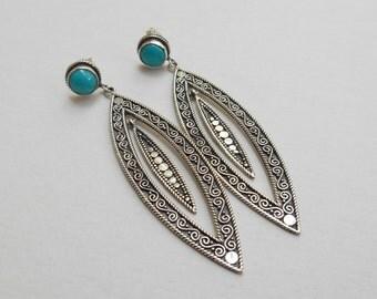 Turquoise gem Sterling Silver stud earrings / Bali handmade jewelry / silver 925 / 2.25 inch long