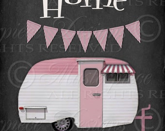 Home Is Where We Park It / Camper / Chalkboard Art / Pink - 8x10 Inch Digital Print / Ready To Frame / Printable Instant Download and Print