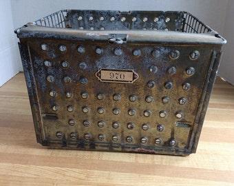 Vintage Metal Locker Basket #970