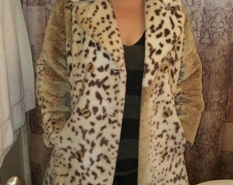 Vintage 70s Black and Cream Spotted Faux Fur Coat Jacket with Red Satin Lining