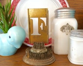 Vintage brass uppercase letter stencil, 3 inch, altered art, industrial, letter F