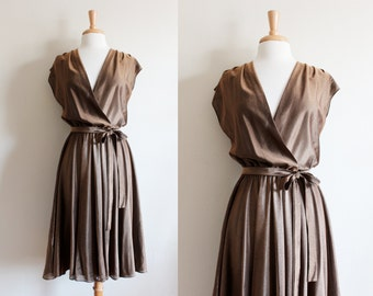 1970s Dress / Vintage Bronze Jersey 70s Disco Wrap Dress