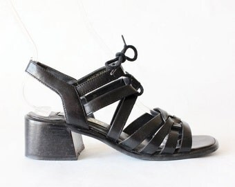 ON SALE Vintage Black Leather Lace Up Strappy Chunky Heel Sandals, size 6