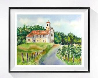 Church Chappell Italian watercolor Print Travel Art Print Italian landscape painting Old church painting Mediterranean vineyard