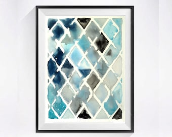 Mid Century Modern Abstract Art print Watercolor artwork Fine art watercolor Diamonds geometric painting blue painting grey painting  A
