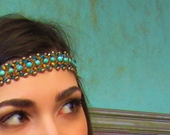 Beaded Headband Native American Inspired - Hippie Chic Aztec Semi Precious Turquoise Head Jewelry Wire Wrapped by Sharona Nissan 4149HP