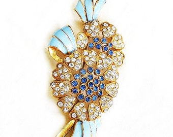 Coro Blue Enamel and Clear Diamante Flower Brooch