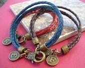 Leather Bracelets Initial Charm Bracelet Braided Leather Charm Bracelet Personalized Monogrammed Bracelet Initial Bracelet Womens Bracelet