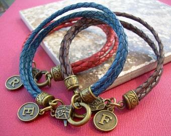 Initial Charm Bracelet, Braided Leather Bracelet with , Personalized, Monogrammed Bracelet, Initial Bracelet, Womens Bracelet, Mens Jewelry,
