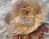 Shabby chic, tattered fabric flower pin, brooch, lace, hair clip, ooak