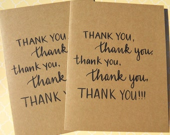 Thank You Cards - Shower Gift Thank You Cards - Wedding Gift Thank You Cards - Friendship Cards - Set of 4 Thank You Cards  - KTY1