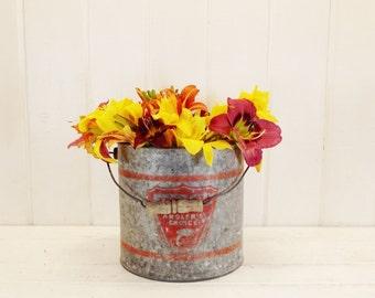 Vintage Bait Bucket Metal Bucket Planter Rustic Vase