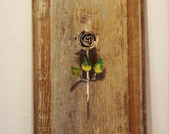 Vintage Italian Tole Hook, Metal Flower Hook, Toleware Rose Hook, Flower Hook, Patina