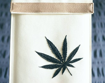 Tablet Case | Charcoal Grey Marijuana Leaf Applique on White Vegan Leather
