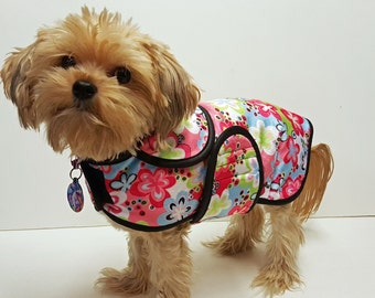 Pastel Flower Minky Dog Coat  20 dollars to 50 dollars depending on the size by Doodlebug Duds