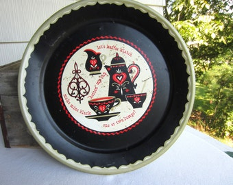 Vintage Mid Century Let's Kaffe Klatch Round Metal Tray Red Black