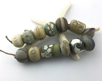 Lampwork Beads Set  Organic, Etched Matte, Gray, Brown, Silver, Tan, Green, Purple