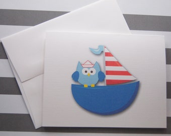 Sailboat with Owl Note Cards set of 10 with Envelopes GC105