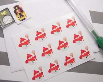 Snowman Stickers Envelope Seals One Inch Round Ses338