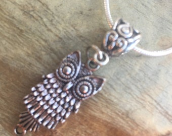 Owl charm necklace with 17 inch snake chain and lovater clasp 517