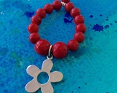 FREE SHIPPING Red Sea Bamboo and Sterling Flower Charm Pendant