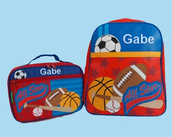 Child's Personalized Stephen Joseph GoGo NEW STYLE SPORTS Themed Backpack and Lunchbox School Set-Monogramming Included In Price