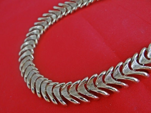 """Vintage 18"""" gold necklace with geometric design-heavy and high end construction"""