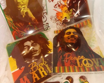Bob Marley Collectible Wall Decals Patches and Pins, Four Wall Decals, 4 Patches and 4 Pins, Bob Marley Collectible Assortment