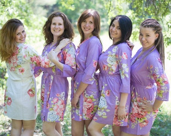 Lilac Cabbage Roses Bridesmaids Robes | Kimono Wrap bridesmaids gifts, getting ready robes, Bridal shower favors, Dressing Gowns, Spa Wraps