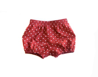 Red and White Polka-Dot Cotton Blommers Handmade Fashion for Baby Girls