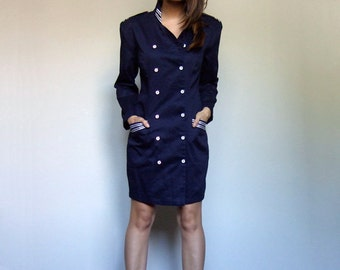 Military Mini Dress Vintage Halloween Costume Women Navy Blue Dress Pockets Military Jacket Women - Medium M