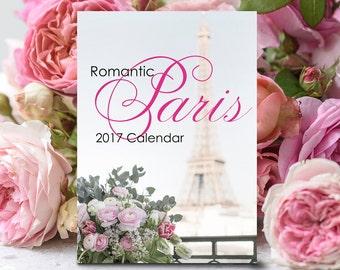 2017 Paris Photo Calendar - Romantic Paris 2017 Desk Calendar, Eiffel Tower, Gifts Under 25, Stocking Stuffer, Paris Wall Art