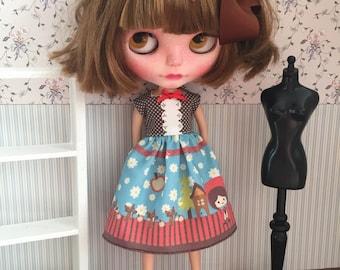 Little red hood dress for Blythe - Little Lénie