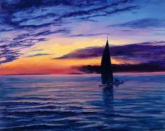 Catamaran at Sunset - Giclee Print