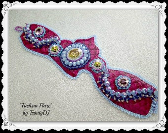 TB-086-2016-124 - Fuchsia Flare - Bead embroidered bracelet, fish leather bracelet, beaded cuff, embellished bracelet, beadweaving