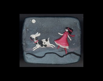 Dairy Goat Jewelry: Walking at Dawn. Pin. Original Bas-Relief Sculpture in Polymer Clay. Grey, Black, Red Pink White 4184