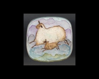 Sheep Jewelry: Ewe and Lamb Pin. Blue, Green, Lavender, White and Brown 4094